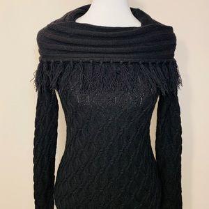 Gorgeous Black Tassel / Fringe Cowl neck sweater
